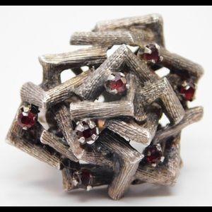 Taxco Brutalist Silver Garnet Ring